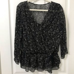 Ann Taylor Black & White Long Sleeve Sheer w/Shell